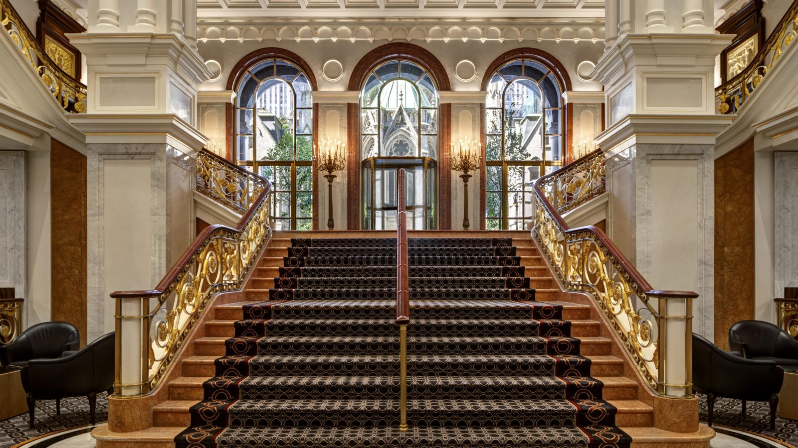 Lotte New York Palace lobby staircase