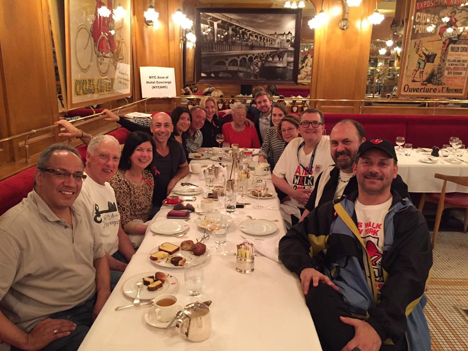 Members of the New York City Association of Hotel Concierges enjoy brunch after participating in AIDS Walk New York to raise money for GMHC