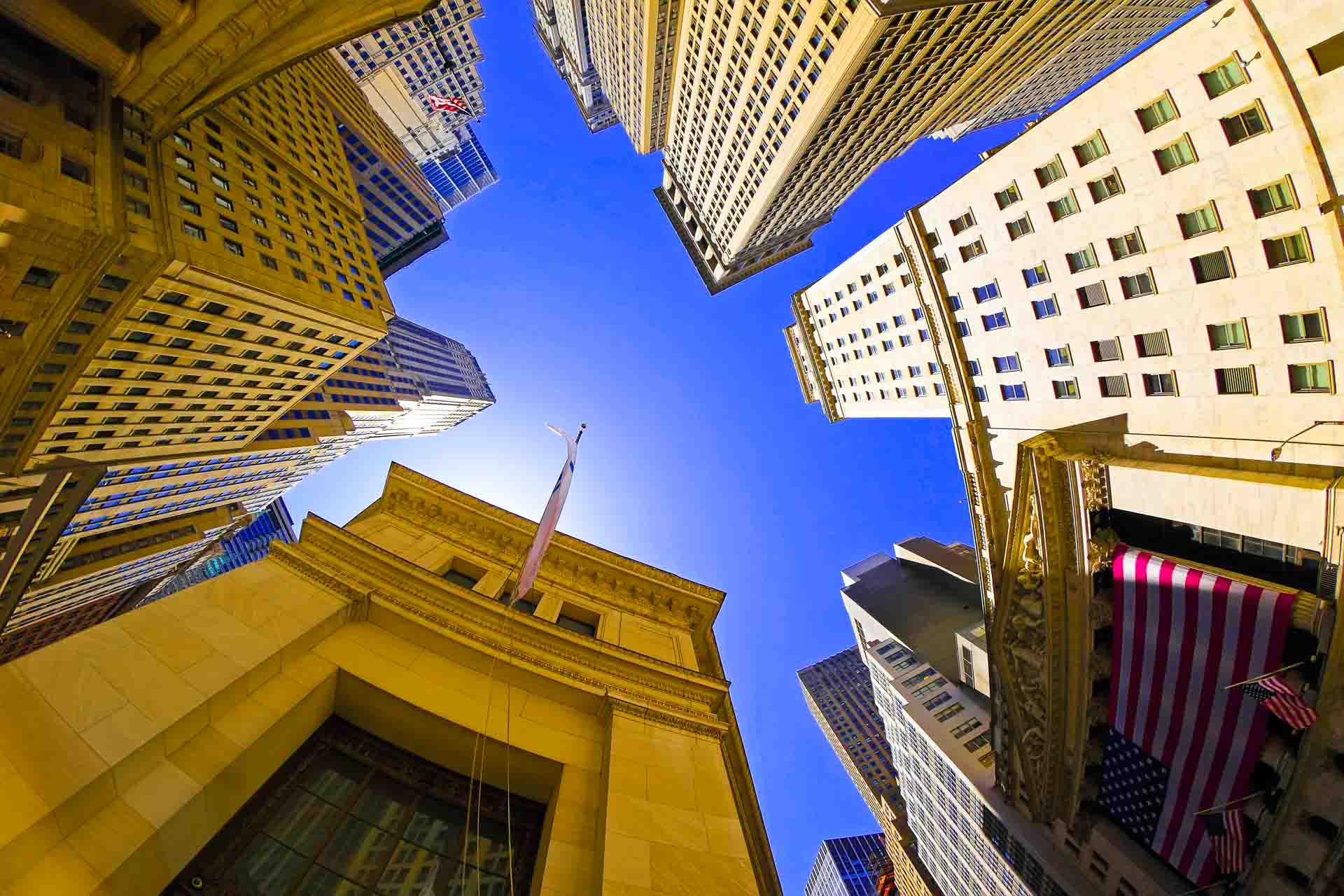 fisheye view of Wall Street in New York City