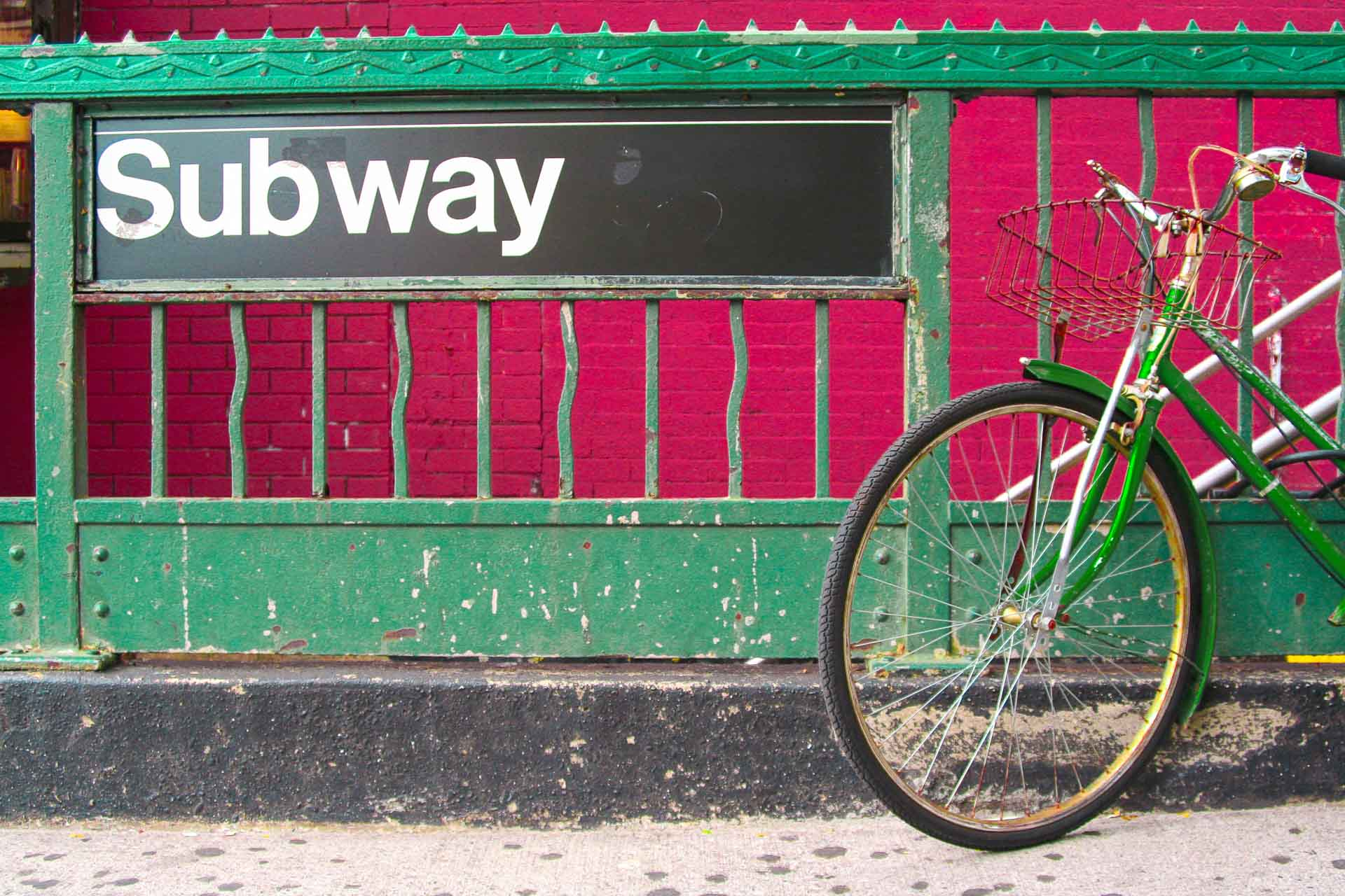 New York City Subway Entrance and green bicycle