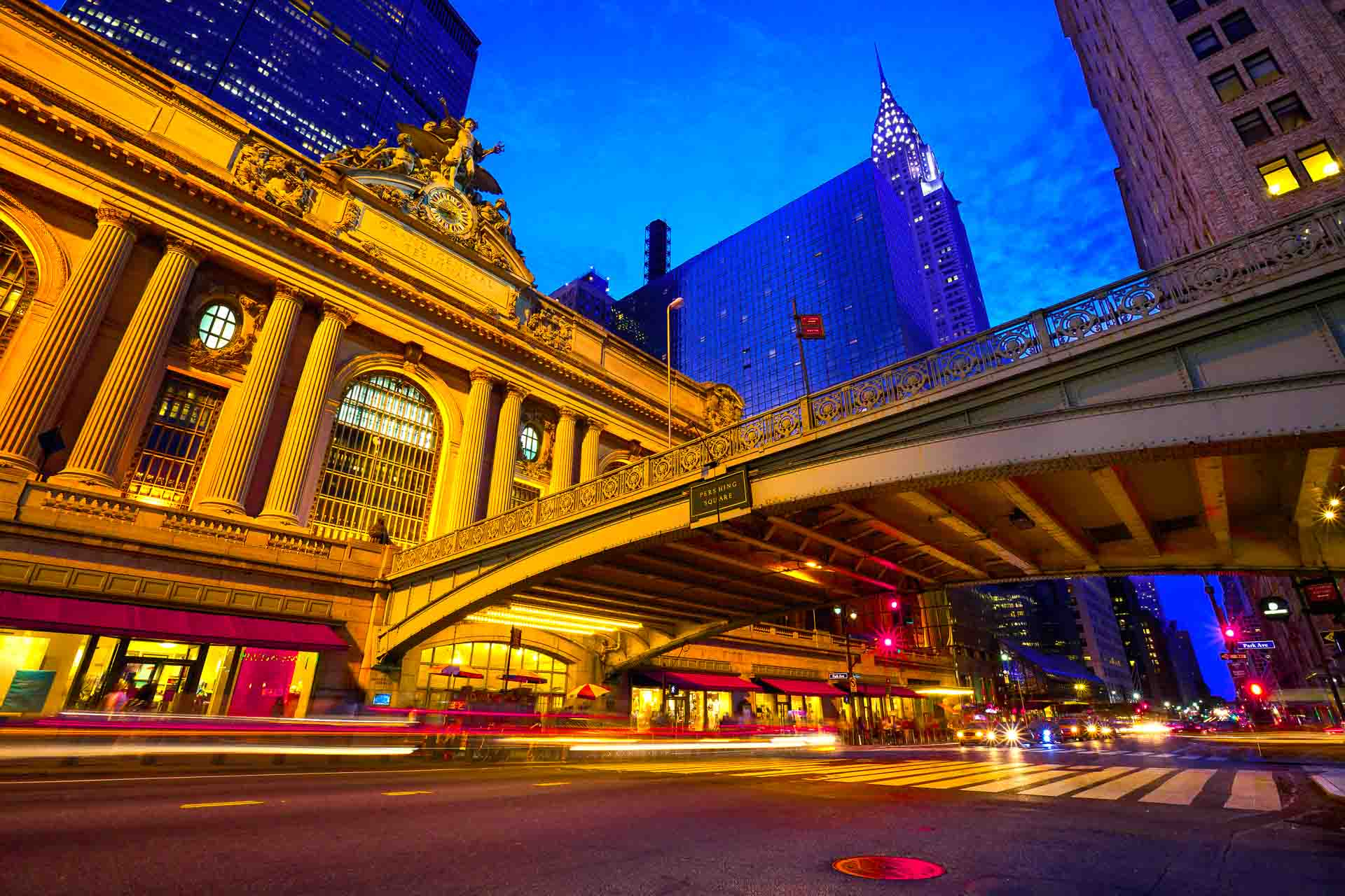 Pershing Square Overpass and entrance to Grand Central Terminal in New York City