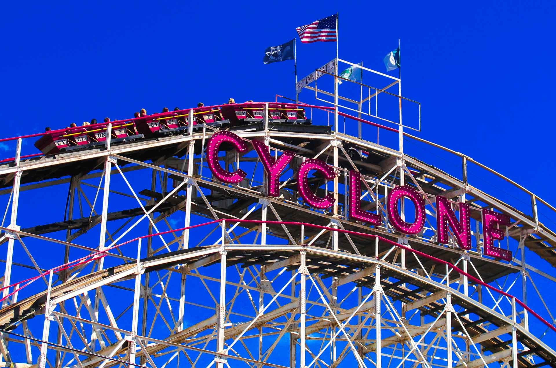 famous Cyclone roller coaster in New York City's Coney Island