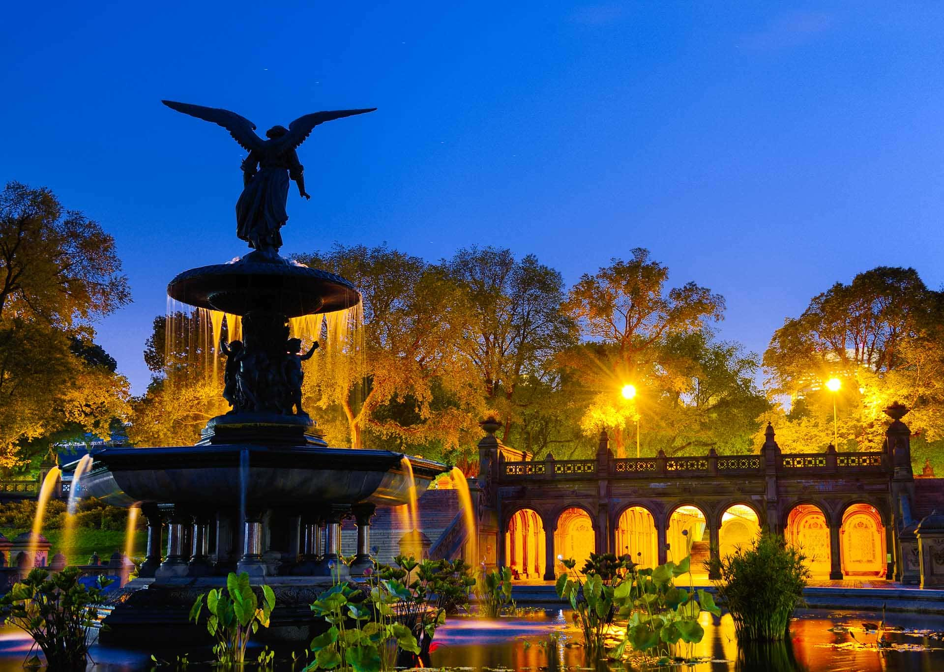 Bethesda Fountain at night in New York City's Central Park