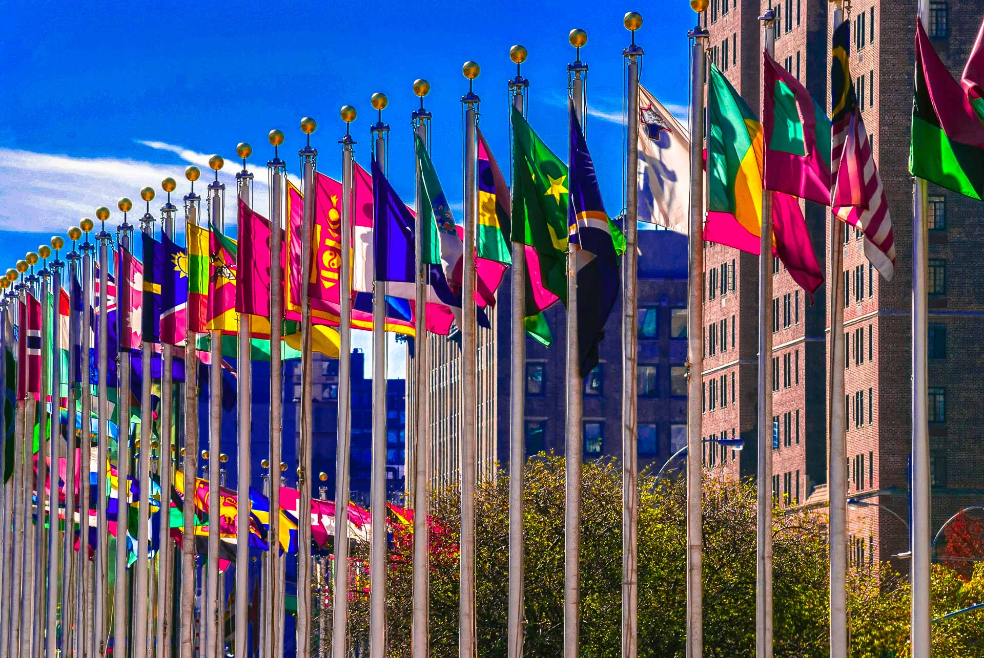 flags on the plaza of the United Nations Building in New York City