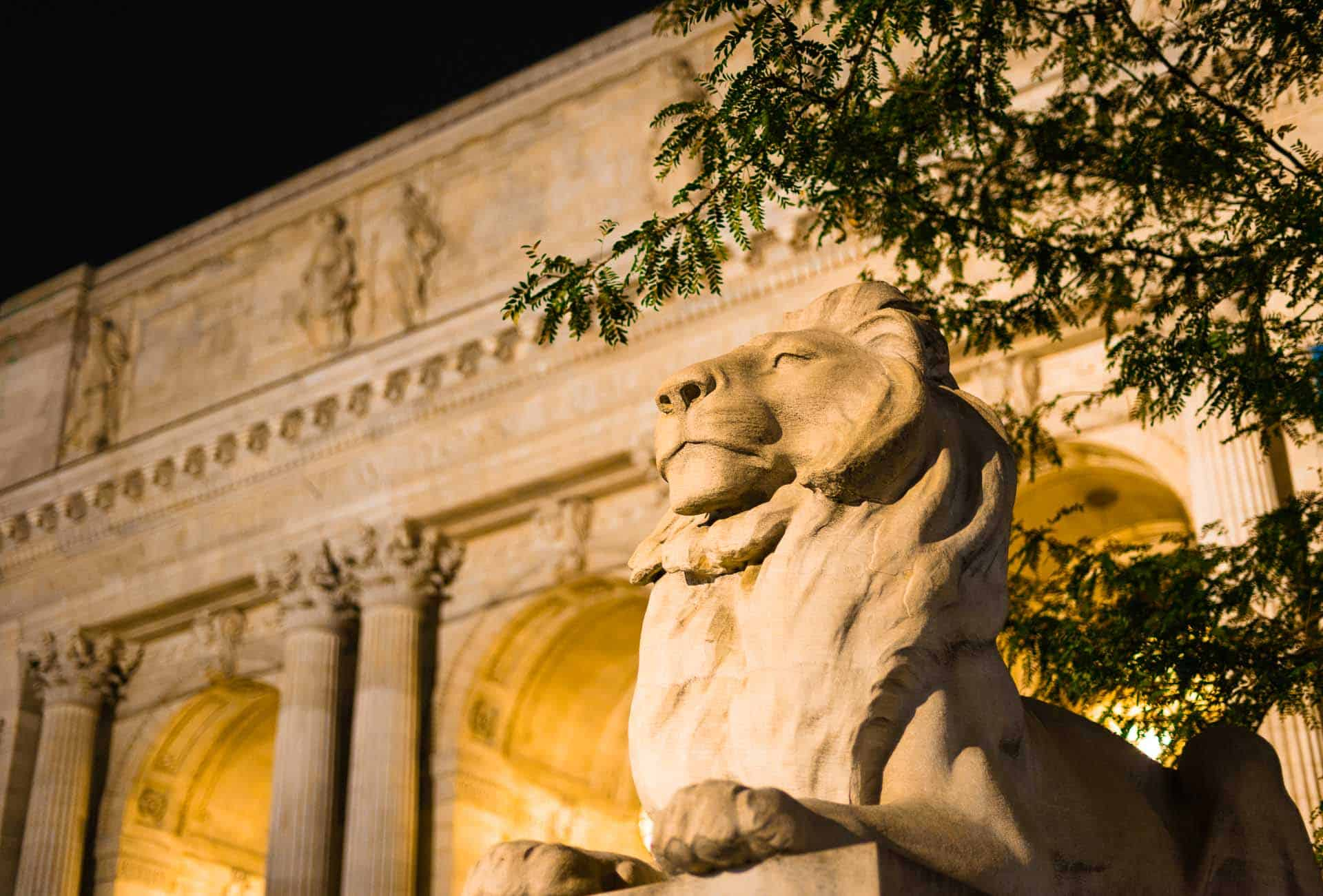 a lion statue in front of the New York Public Library in New York City