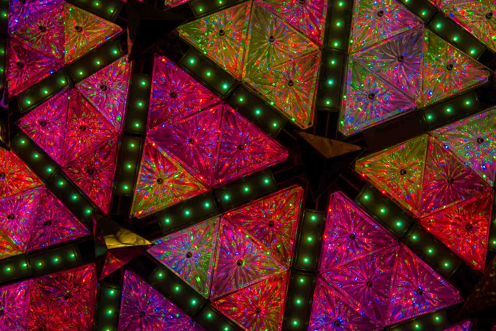 a closeup of the famous Times Square New Year's Eve Ball
